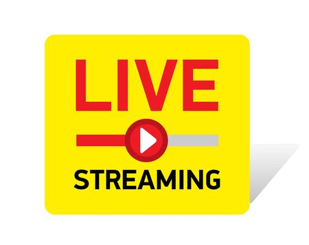 Vector illustration Live streaming red button. emblem with red play button Illustration