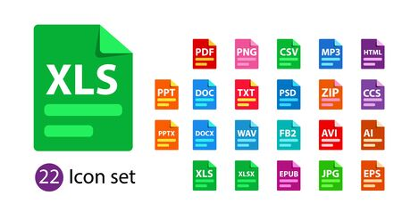Collection of vector icons. File format extensions icons. Illustration