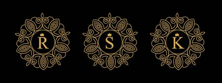 Round emblem with the gold letters R, S, K on black background. Elegant floral monogram template Design. logo for restaurant, hotel, jewelry. invitations on Wedding.