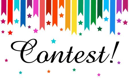 Banner with text Contest. Bright design. Vector illustration. Bright design.