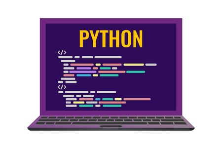 Program code icon in flat style. laptop with a code computer language python. Vector illustrathion isolated on white background.