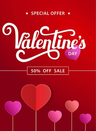 Red poster with lettering Valentines Day Sale. Red paper hearts on background. Vector illustration.