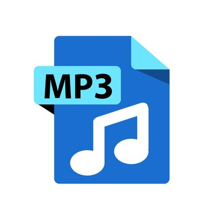 Vector blue icon MP3. File format extensions icon. flat design style. Ilustracja