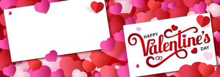 Design banner with lettering Happy Valentine s Day. White paper on red background with small multicolored hearts. Vector illustration.