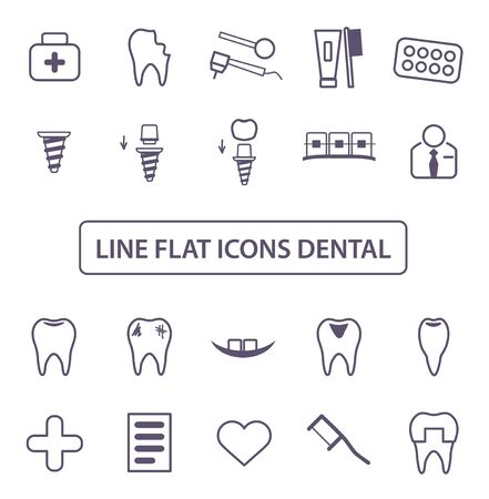 Dental Icons Set. Collection Thin black lines symbol. Linear style of icons. Vector illustration.