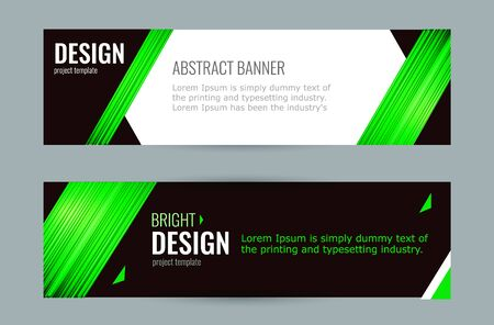 Bright banner with emerald strips on dark background. Set horizontal banners with empty place for text. Abstract vector background. 向量圖像