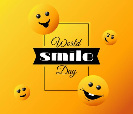 World Smile Day. bright vector greeting card, poster and banner.