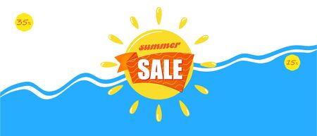 Bright blue Banner summer sale. Vacation and travel concept.