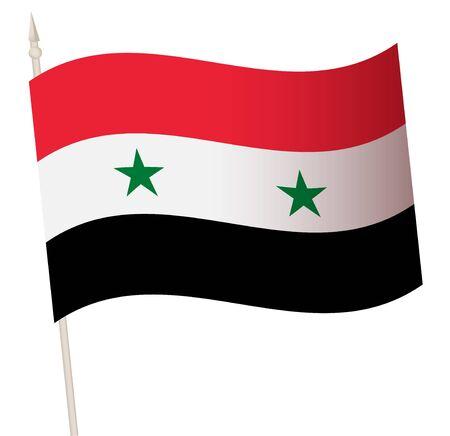 Vector Waving flag on a flagpole. The national flag of Syria. Vector Illustration
