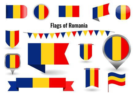 A large set of icons and signs with the flag of the Romania.