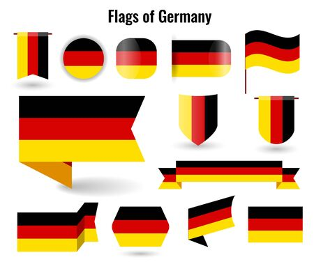A large set of icons and signs with the flag of the germany. Imagens