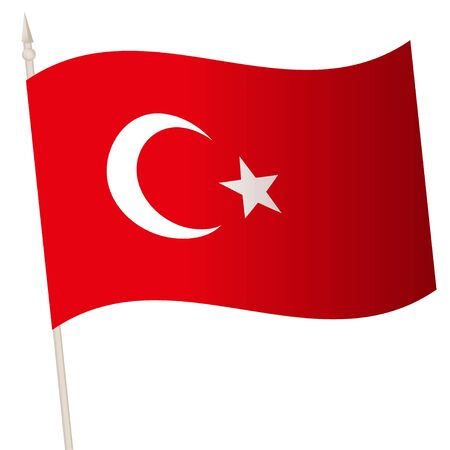 Vector Waving flag on a flagpole. The national flag of Turkey. Color symbol isolated on white. Stock Photo