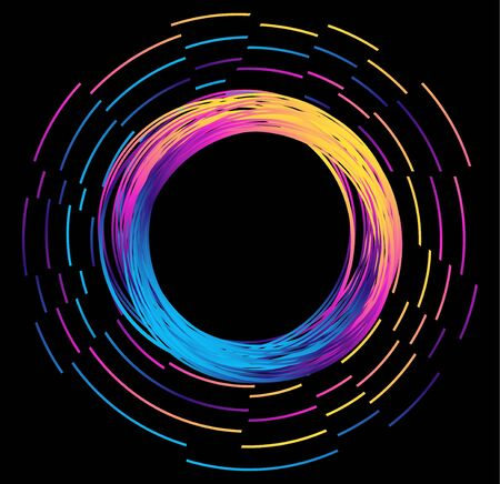 Abstract background in modern futuristic style with a bright neon ring. Frame of glowing circle with flying particles. Dark background for your banners and projects.