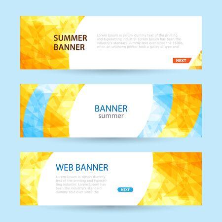 Set Horizontal summer web banner templates. Bright sun rays