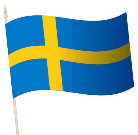 Vector Waving flag on a flagpole. The national flag of Sweden. Color symbol isolated on white.