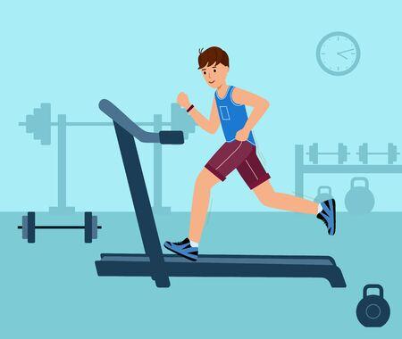 Young man on running track. Fitness illustration personal training. Ilustracje wektorowe
