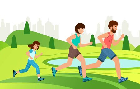Family Jogging Exercise Together in park. Active Lifestyle and World Health Day. Иллюстрация
