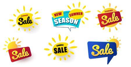 Big Set Web Banner summer sale. Vector summer background for Иллюстрация