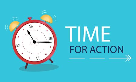 Business Concept time to action. Banner Alarm clock on a blue background. Vector illustration in flat style. Иллюстрация