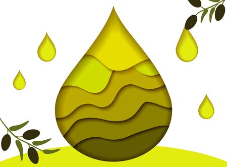 Bright golden drop of oil with olive branches, cut from paper. Иллюстрация