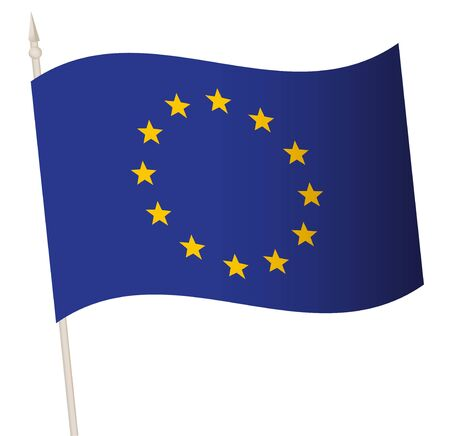 Vector Waving flag on a flagpole. The national flag of European Union.