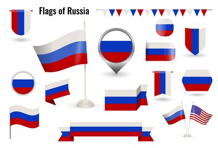 A large set of icons and signs with the flag of the Russia.