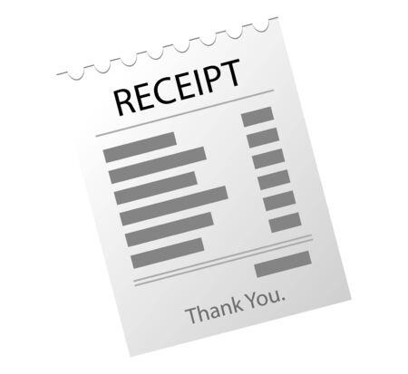 Paper checks, receipts. Receipt icon, paper receipt.