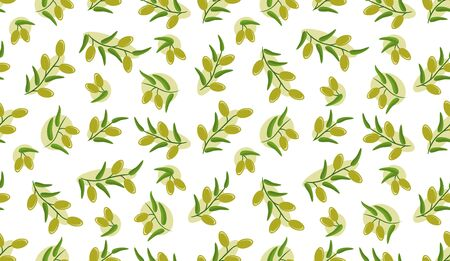 Olive seamless pattern. Branches with green olives on white background.