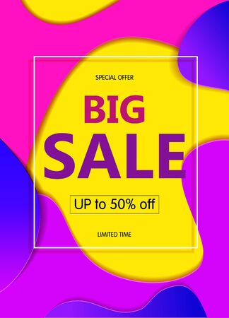 Bright abstract Banner sales with coloured blue, pink spots on yellow background. Иллюстрация