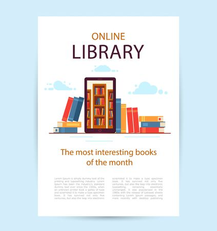 Poster Online Library. A mobile phone with library bookshelves inside.