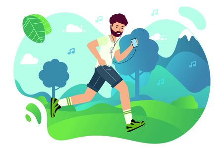 Man is Jogging in the Park and listening to music from his phone. Happy runner listens to music. Outdoor trainin