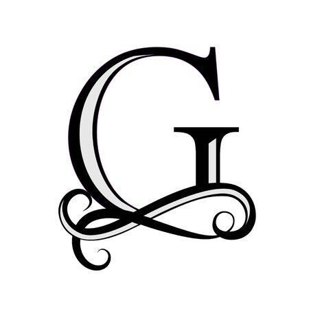 Black letter G. Capital Letter for Monograms and Logo. Beautiful letter. Design modern element logotype. Иллюстрация