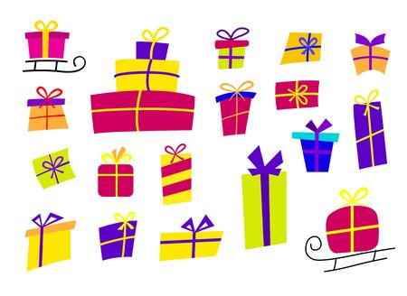 Large set with colorful gifts. Gift icons in flat style, can be used for cards for new year or birthday. Vector illustration.
