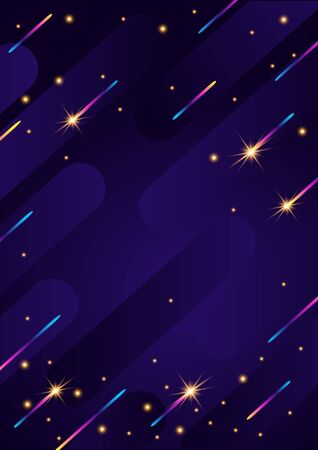 Abstract geometric vertical background. Modern futuristic style. Banner with chaotic geometric rainbow stripes. Christmas sparks on dark background.