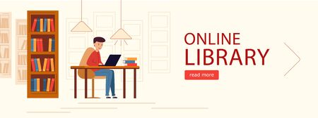 Banner horizontal Online library. Young man in laptop looking for e-book. Against the background of the library room with cabinets of books. Vector illustration in modern flat design.