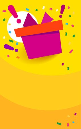 Congratulations win vertical banner. Red gift box on orange background and exclamation marks. Fireworks or confetti around. Cartoon origami style vector illustration.