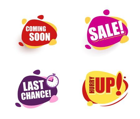 Set Speech bubble announcement. coming soon Sale last chance hurry up Promotion Icon Offer. advertising sign. Vector banner in modern flat style on white. Иллюстрация