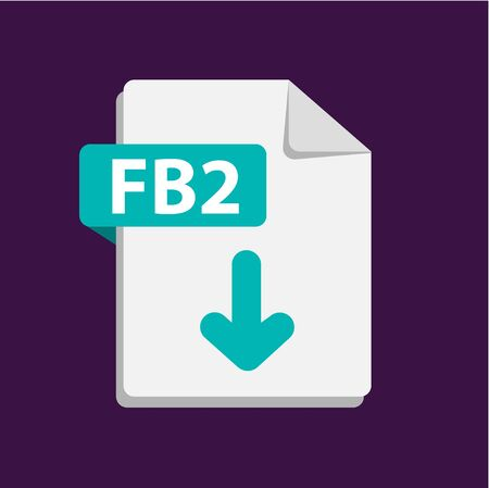 Vector blue icon FB2. File format extensions icon.