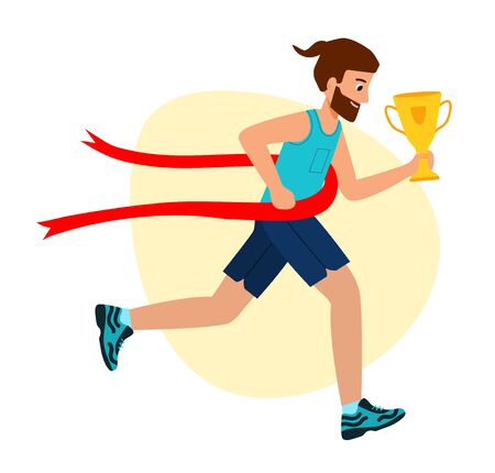 Running Man Crosses Finish Line. Achieve Goal. Way to Victory. First place, success, Cup in hand. vector illustration in modern flat style.  Иллюстрация