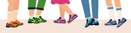 Legs of people group walking in shoes. Feet in sports shoes. Legs of a group of teenagers. Meeting guys and girls. vector illustration in flat style. Иллюстрация