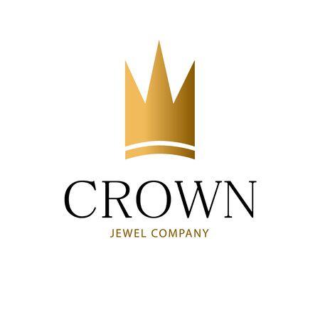 Golden sign crown king. Design modern logos princess crown for Business.