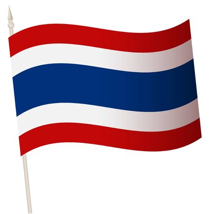Vector Waving flag on a flagpole. The national flag of Thailand. Color symbol isolated on white. Иллюстрация