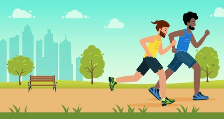 Active people characters running distance in park. Healthy lifestyle