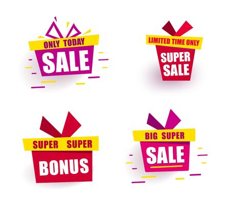 Set color Banner Big Sale Bright gift box says sale only today Иллюстрация