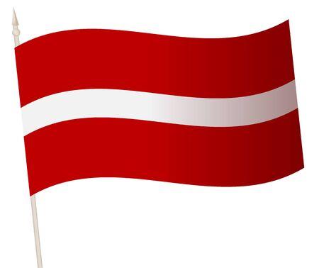 Vector Waving flag on a flagpole. The national flag of Latvia. Иллюстрация