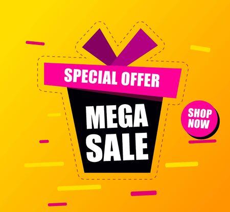 Banner mega Sale Black gift box says mega sale special offer.