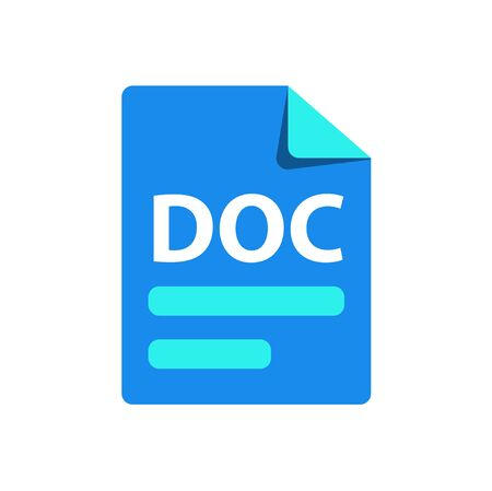 Vector blue icon DOC. File format extension