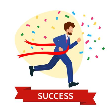 Business competition, a race for success.  Happy businesswoman crossing the finish line. The concept of business victory.vector illustration in modern flat style. Иллюстрация