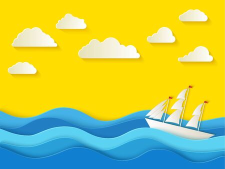 Sunny summer day. Sea background in paper style.