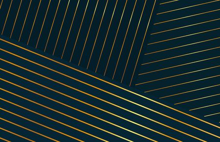 Abstract horizontal striped golden background. Ultra thin gold lines on black backdrop.